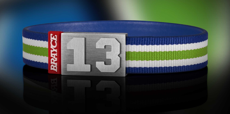BRAYCE® grün, weiß und blau im Style vom Seahawks Trikot Nummer 13