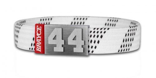 Eishockey Schnürsenkel Armband weiß Nummer 4