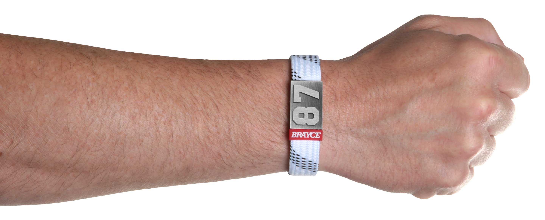 Eishockey Schnürsenkel Armband weiß Nummer 87