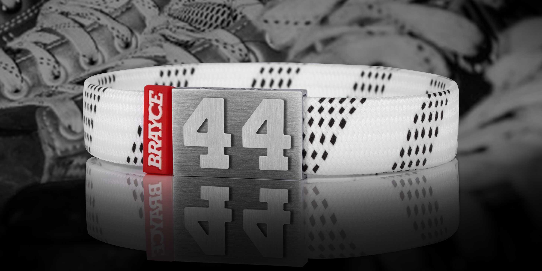 Eishockey Schnürsenkel Armband weiß Nummer 44