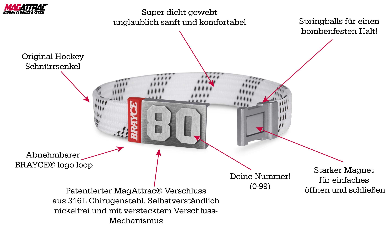 Eishockey Schnürsenkel Armband weiß Produktinformationen